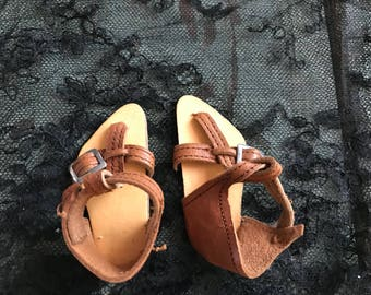 Antique leather German doll sandals
