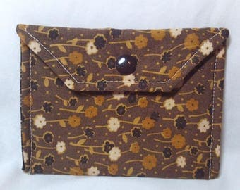 Card Holder/Money Holder - Brown Flowers