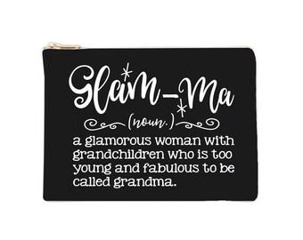 Glam-Ma - Cosmetic Bags, Makeup Bag, Blessed Grandma, Blessed Glam-ma, Gift for Mom, Gift for Grandma, Mimi, Nana, Gigi, Makeup Bags