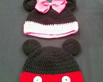 Crochet Minnie and Mickey Mouse Hat