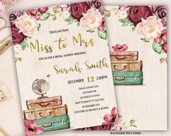 miss to mrs bridal shower invitation, floral traveling from miss to mrs bridal shower, rustic bridal shower invitation, boho vintage invite