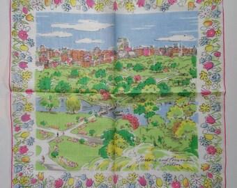 "Vintage Burmel Original Print Iconic ""Gardens and Common Boston"" Mid-Century Modern scene Ladies Hankie Never used with Original Sticker"