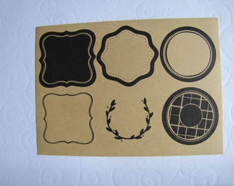12 labels kraft adhesive with liserai black baroque style - 2 sheets of 6.