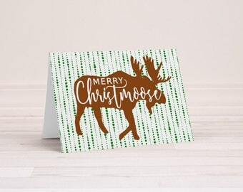 Merry Christmoose - Moose Christmas Card - Woodland Christmas - Folding Greeting Cards - Merry Christmas Cards - Designer Christmas Card