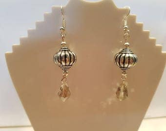 Silver and Glass Bead Drop Earings