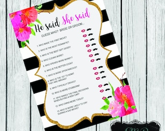 Kate Spade inspired Bridal Shower He Said She Said Game( DIGITAL FILE ONLY)
