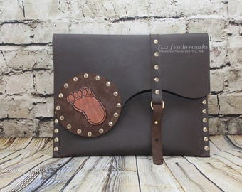 Leather messenger slim build, large clutch, shoulder bag, Searching for BigFoot - Ready to Ship