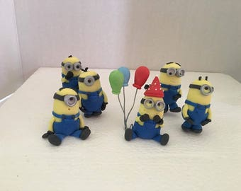 Fondant minion inspired birthday party cake topper