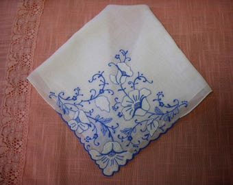 Vintage Appliqued Wedding Handkerchief Hanky