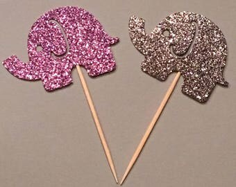 12 Elephant Topper Glitter Toppers Silver and Purple Toppers Baby Shower Toppers Birthday Toppers Girl Toppers
