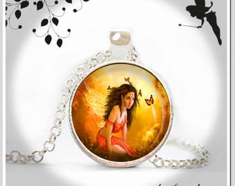 Cabochon necklace long chain of magical fairy with BUTTERFLIES KJR-025-016