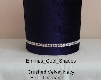 Handmade Lampshade - Crushed Velvet Lampshade Blue Fabric with Diamante - Drum Bespoke