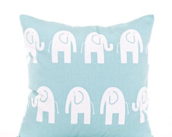 SALE ENDS SOON Blue Elephant Pillow Cover, Teal Blue Baby Pillows, Blue Nursery Decor, Baby Blue, Boys Room Pillows, Nursery Pillowcases
