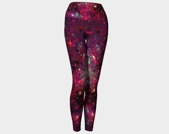 Yoga leggings, red and black yoga leggings, fractal leggings yoga pants, activewear, womens leggings, yoga wear, printed leggings