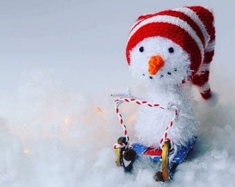 Snowman toy knitted snowman plush toy winter gift