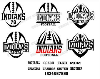 Indians Football Mom Pack Download Files - SVG, DXF, EPS, Silhouette Studio, Vinyl  Files, Digital Cut Files -Use with Cricut and Silhouette