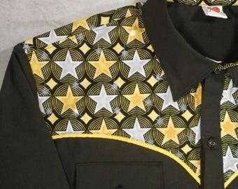 Ready to Ship SALE - Size XL - Rockstar, Stars, Retro, Rockabilly Western Shirt, Long Sleeve