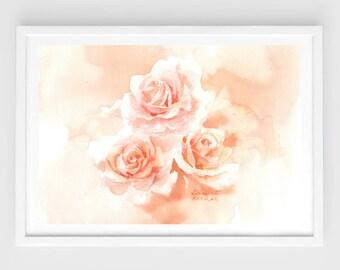 "Original flower watercolor, rose garden,blooming roses,original painting,8""3x11""8,garden,home decor"