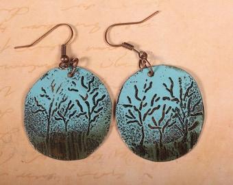 Enameled copper forest earrings