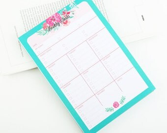 Goal Planner 2018, Weekly Schedule 2018, Daily Routine 2018, Goals Planner Notepad for your Desk, Desk Goal Planner, Desk Weekly Schedule