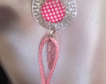 beautiful silver filigree earrings, pink cabochon with dots and tassel