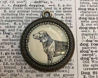 Handmade Vintage Dictionary Dog Necklace - Beagle
