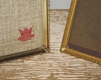 Gold tone ornate 5 x 7 table top picture frames,Heirloom gold frame,gold plated photo frame,glass front,easel back,set of 2,vintage frames