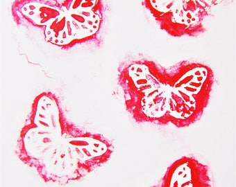 Abstract Watercolour Butterfly Painting, Pretty Print
