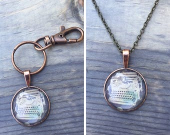 Type Writer Pendant on keycahin or necklace