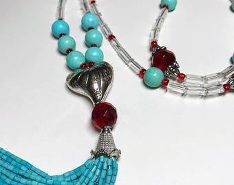 Silver Heart Tassel Necklace