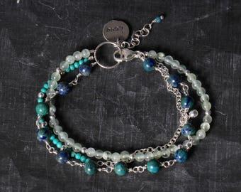 Multi Layer Bracelet, Sundance Bracelet, Dainty Bracelet, Beaded Bracelet, Blue Bracelet, Boho Bracelet,Stacked bracelet