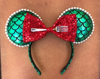 Green and Red Mermaid Scale Minnie Mouse Ears