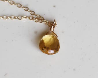 Gifts for Her, November Birthstone, Citrine Necklace, Dainty Necklace, Gold Filled, Sterling SIlver, Rose Gold, Gifts For Her