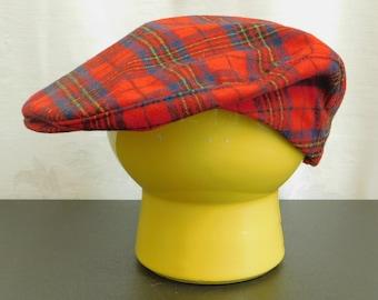 Vintage Red Plaid Pendleton Cap, Sporting Cap, Wool Driver's Cap, Golf Accessory, Gift for Golfer, Scottish Red Tartan Newsboy Hat, Hunter