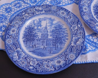 Vintage Liberty Blue Independence Hall Staffordshire Ironstone, Made in England, Commemorative Plate, Transferware, Farmhouse Country Style