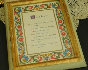 Vintage Mother Print, Prayer, Blessing, Inspirational Poem, Framed Under Glass, Gold Painted Frame, Made in Italy, Mother's Day Gift for Mom