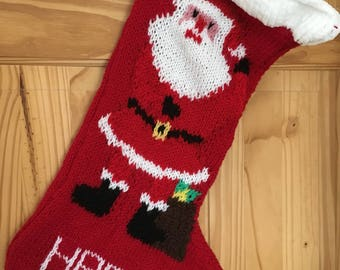 Personalised knitted christmas stockings