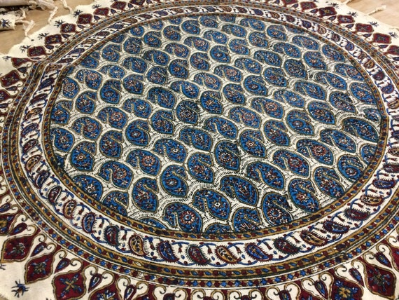 """blue ghalamkari , round tablecloth, 24"""" floral table top, natural colour tablecloth, cottage style , traditional cloth , paisley design"""