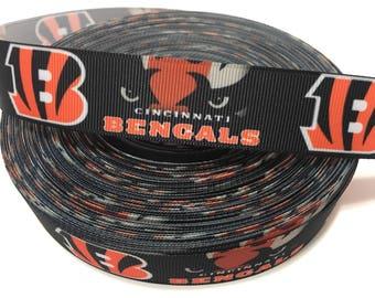 """1"""" Bengals Ribbon, NFL Cincinnati Bengals Ribbon, Bengals Grosgrain Ribbon"""