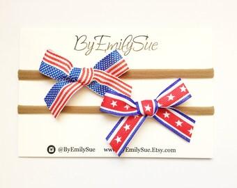 Fourth of July baby bow on nylon headband