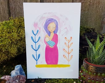 Breastfeeding art print - Normalize breastfeeding - Mother and baby painting - Baby shower gift - Breastfeeding celebration - New baby