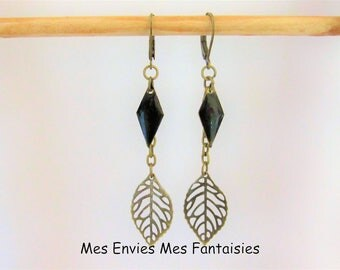 Earrings Bohemian leaf sequins black Rhombus ღ ღ ღ Bronze