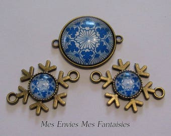 3 bronze connectors for Cabochons 25 and 12mm + 3 pinwheel flowers white and blue glass cabochons B16