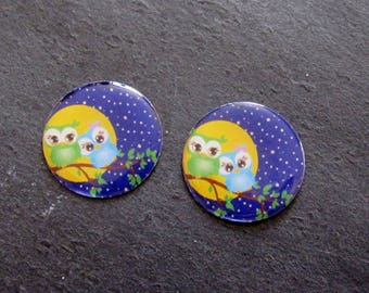 "Set of 2 cabochon resin 25mm ""Moonlight OWL Couple"" C211"