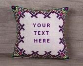 Multicolor custom cross stitch cushion cover 10 x 10 (27 x 27 cm)