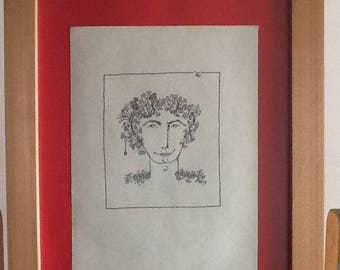 Hombre con flores 12,dibujo hecho a mano en tinta negra sobre papel sin ácido