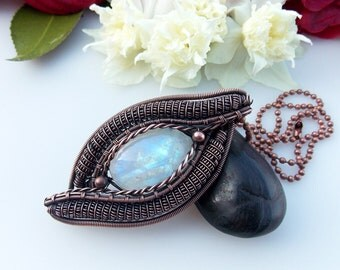 rainbow moonstone pendant, wire wrapped jewelry, copper wrap, wire weave, heady wrap, boho, artisan, handmade jewelry, Melissa Wood Jewelry