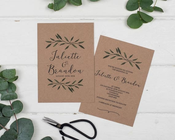 Woodland Kraft Wedding Invitation Set Sample
