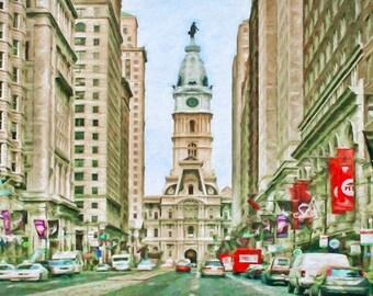 Philadelphia City Hall, Broad Street, Historic Building, Skyline,  Fine Art Print,  Matted Print, Urban Art, Philadelphia Art, Cityscape