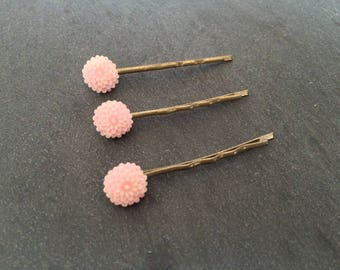 Pastel pink flower - Bronze hair clips